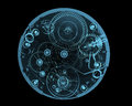 Watch internals x ray blue transparent isolated on black Royalty Free Stock Images