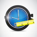 Watch and measure tape illustration design over a white background Royalty Free Stock Photography