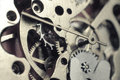 Watch mechanism steel close up Royalty Free Stock Photos