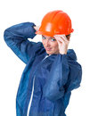 Watch out please wear a protective helmet portrait of woman in clothing and isolation on white background with clipping paths Stock Photo