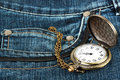 Watch in pocket of jeans Stock Photography