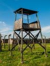 Watch tower in birkenau concentration camp poland Royalty Free Stock Image