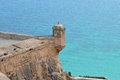 Watch tower a on a corner of alicante castle Royalty Free Stock Photos