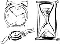 Watch vector sketch of different types of hours Royalty Free Stock Photos