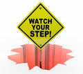 Watch Your Step Be Careful Hole Sign Danger Royalty Free Stock Photo
