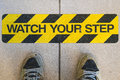 Watch your step construction warning sign Royalty Free Stock Photo