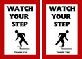 Watch your step warning sign tripping hazard with person Stock Images