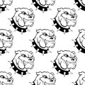 Watchdog seamless pattern of a large with a spiked collar heavy jowls and an evil toothy grin Royalty Free Stock Images