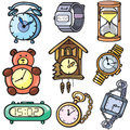 Watches and clock icons set Royalty Free Stock Photos