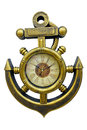 Watches helm and anchor antique clock in the case of marine steering wheel Stock Images
