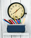 Watches and school tools. Royalty Free Stock Photo