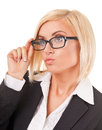 Watchful eye of a clever young business woman in front white background Royalty Free Stock Photos