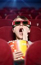 Watching a 3D movie Royalty Free Stock Photo