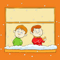 Watching snowfall children the snow through the window Royalty Free Stock Photos