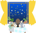 Watching starlit sky with cats a woman who is sitting down near a window and looking at the of the perfect score Royalty Free Stock Photography