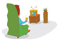 Watching stupid box illustration of a available in vector eps file Royalty Free Stock Photo