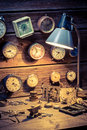 Watchmaker s workshop with many clocks closeup of Stock Image