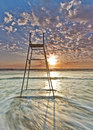 Watchman empty life guard chair standing on duty at gonubie beach Stock Photos