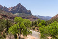 The watchman in zion national park and virgin river from bridge Royalty Free Stock Photography