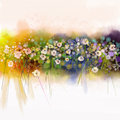 Watecolorflowers painting. Spring seasonal nature background Royalty Free Stock Photo