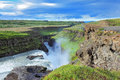 Water abyss enormous waterfall gyullfoss summer in iceland Royalty Free Stock Photos
