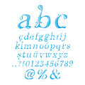 Water alphabet lower case italic and can be used in products that work with letters Stock Photo