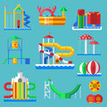 Water amusement aquapark playground with slides and splash pads for family fun vector illustration. Royalty Free Stock Photo
