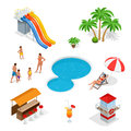 Water amusement park playground with slides and splash pads for family fun set abstract illustration. Water park and