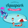 Water aquapark playground with slides and splash pads for family fun vector illustration. Royalty Free Stock Photo