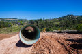 Water aqueduct pipeline construction new and installation trench between reservoirs outside durban south africa Stock Photo