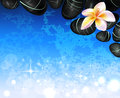 Water background with stones and frangipani flowers Stock Photo