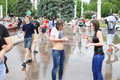 Water battle flashmob in exhibition center moscow june and fountain of friendship of peoples on june moscow russia several Royalty Free Stock Image