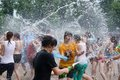 Water battle on kiev beach june dnipro river ukraine Royalty Free Stock Photo