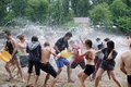 Water battle on kiev beach june dnipro river ukraine Stock Photos