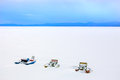 water bikes in snow in winter Royalty Free Stock Photo