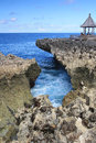 Water blow nusa dua bali indonesia beautiful rocky beach at Stock Photography