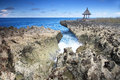 Water blow nusa dua bali indonesia beautiful rocky beach at Stock Photo