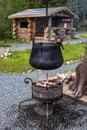Water Boils In The Cauldron Ov...