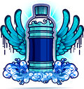 Water bottle with blue wings Stock Photo