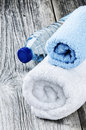 Water bottle and towels Royalty Free Stock Photo