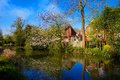 Water canal in ash hampshire panorama of Royalty Free Stock Image