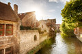 Water canal and old houses in Brugge Royalty Free Stock Photo