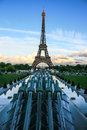Water cannons of Gardens of Trocadero, Eiffel Tower and the EU stars, Paris, France Royalty Free Stock Photo
