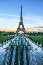Water cannons of Gardens of Trocadero and Eiffel Tower with the EU stars, Paris, France Royalty Free Stock Photo