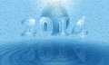 Water card happy new year from iced numbers and diamond clear Stock Photography