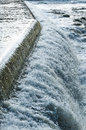 Water cascading motala stream norrkoping flowing over threshold and in river swedish ström in the old industrial area swedish Stock Photography