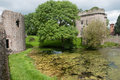 Water and castle whittington in shropshire in england Stock Photography
