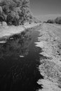 Water channel in marshes through countryside infrared black and white Stock Photography