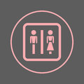 Water closet circular line icon. WC, Toilet round colorful sign. Flat style vector symbol.