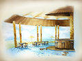 Water color resort by the beach illustration beautiful bar next to sea Royalty Free Stock Photos